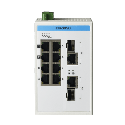 EKI-5629CI-AE - Unmanaged Proview Switch mit 8x FE-RJ45 + 2xGb-Combo-RJ45/SFP wide Temp