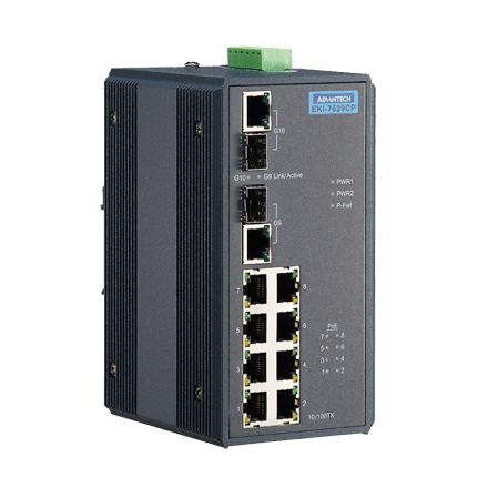 EKI-7629CP-AE - Unmanaged Industrie PoE Switch 8+2G-Combo Industrie Gb-Ethernet Ports mit 8xPoE