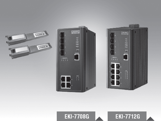 EKI-7708G-2FV-AE - Managed Industrie Switch mit 4xGb + 2x Gb-SFP LAN Ports und 2x VDSL2 Ports