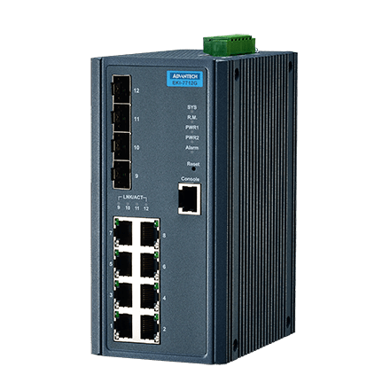 EKI-7712G-4F-AE - Managed Industrie Switch mit 8xGb- & 4x Gb-Cu/SFP-Combo LAN Ports