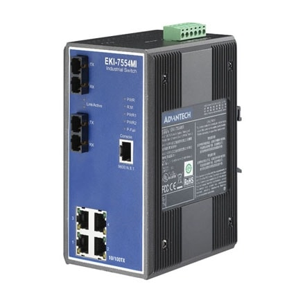 EKI-7554MI-AE - Managed Industrie Switch mit 4x RJ45 + 2x Multi-Mode-SC-LWL-Ethernet-Ports