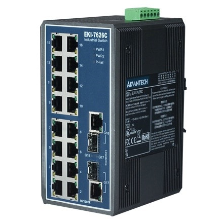 EKI-7626C-AE - Unmanaged Industrie Switch 16+2G-Port Industrie Gb-Ethernet Switch