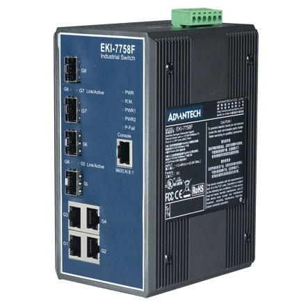 EKI-7758F-AE - Managed Industrie Switch mit 4x Gb-RJ45- und 4x SFP Ethernet Ports
