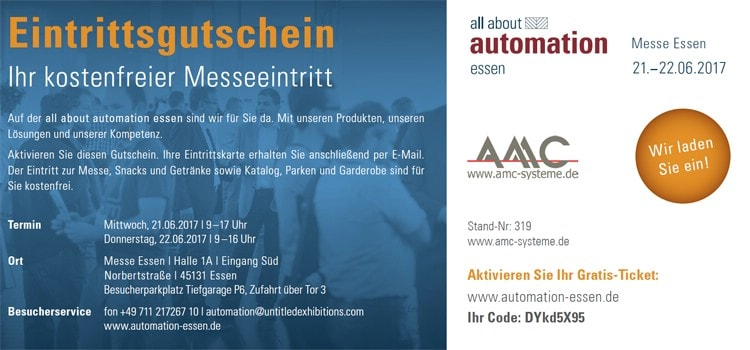 AMC Eintrittsgutschein zur all about automation Essen